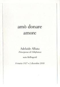 scritto del marito in ricordo della Principessa Adelaide Alliata