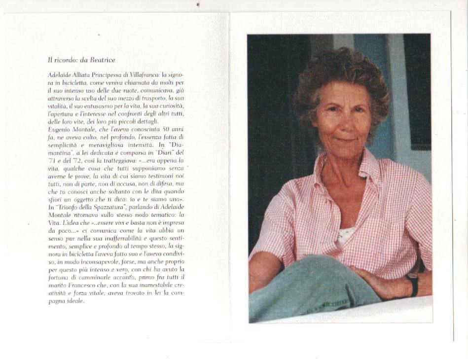 scritto dal marito in ricordo della Principessa Adelaide Alliata con fotografia